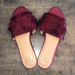 Burgundy Tasseled Flats